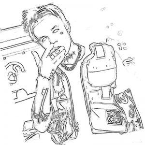 Раскраска Элджей с белыми зрочками
