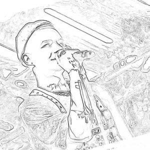 Раскраска Элджей читает рэп
