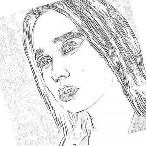Раскраска Клава Кока с прямыми волосами