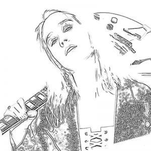Раскраска Клава Кока с гитарой