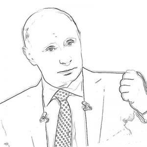 Распечатать Раскраски с Путиным бесплатно