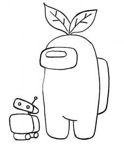 Член экипажа с цветком на голове и роботом