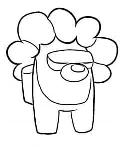 Амонг Ас с кудрями раскраска