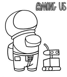 Раскраска Among Us и робот