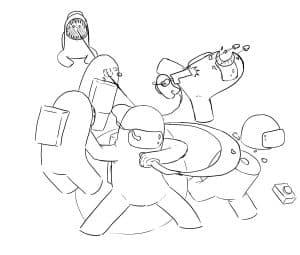 Битва Among Us раскраска для ребенка