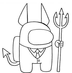 Персонаж Амонг Ас с трезубцем и дьявольскими рожками