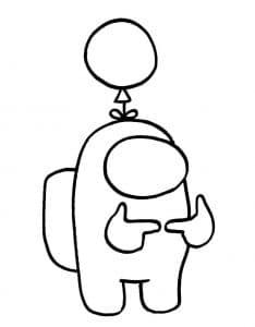 Персонаж Амонг Ас с воздушным шариком